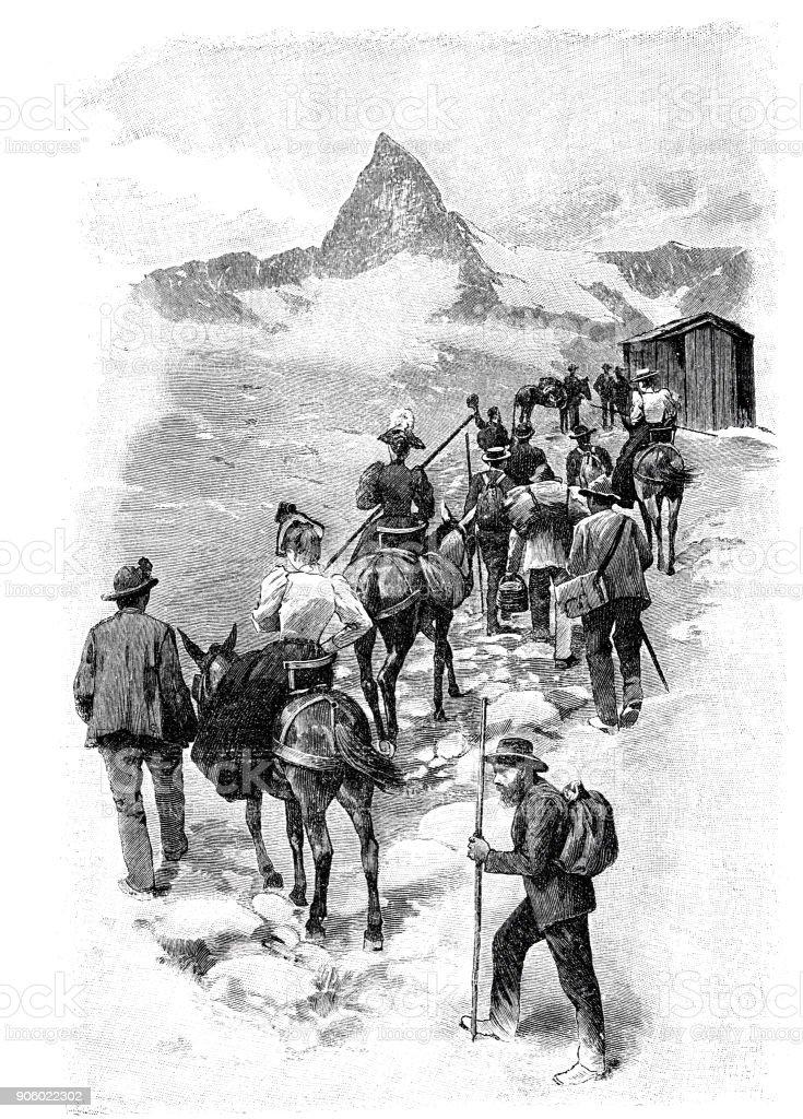 Mountaineer on the way to Gorner Grat, Switzerland vector art illustration