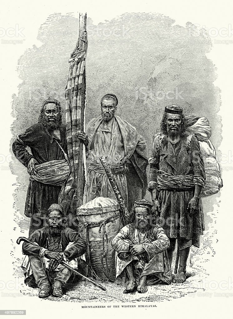 Mountaineers of the Western Himalayas royalty-free mountaineers of the western himalayas stock vector art & more images of 19th century