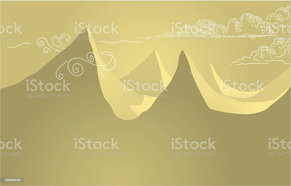 mountains and clouds vector art illustration