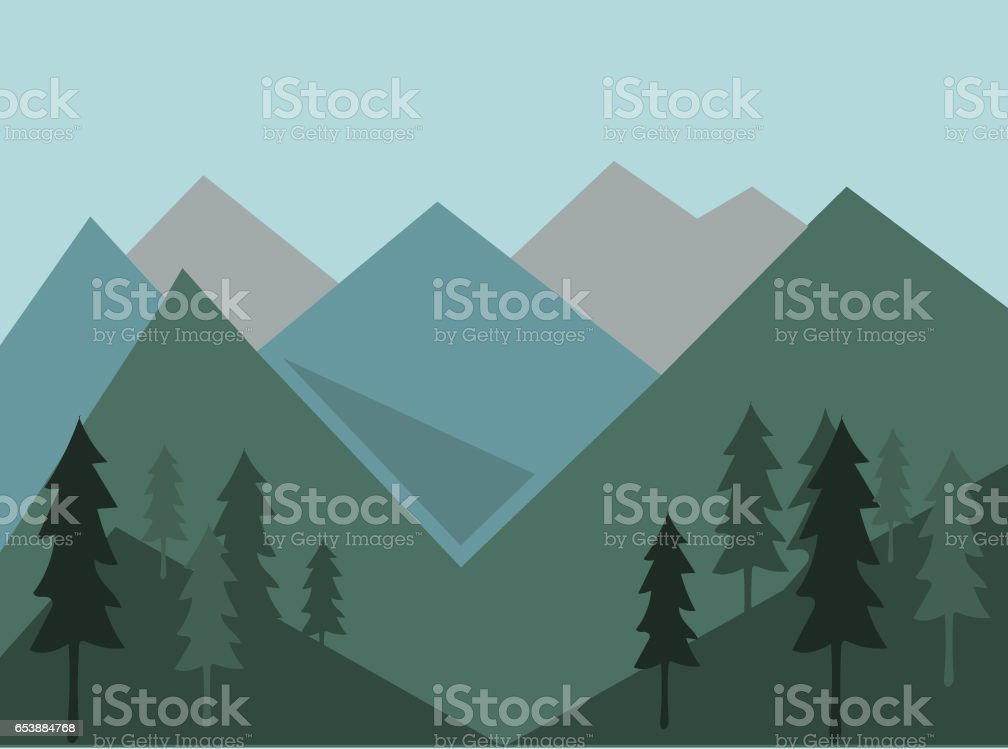 mountains and forest vector art illustration