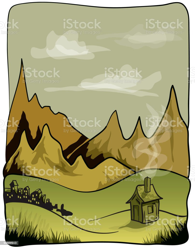 Mountains and Hut vector art illustration