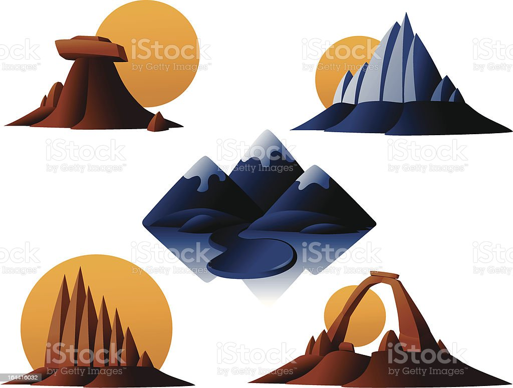 Mountains and Monuments Vector Icons vector art illustration