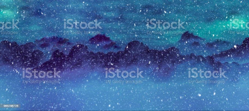 Mountains and pine trees in snowfall illustrated winter landscape mountains and pine trees in snowfall illustrated winter landscape - stockowe grafiki wektorowe i więcej obrazów bez ludzi royalty-free