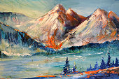 Ridge, a mountain pass, contemporary art, landscape, Modern abstract painting. Oil on canvas