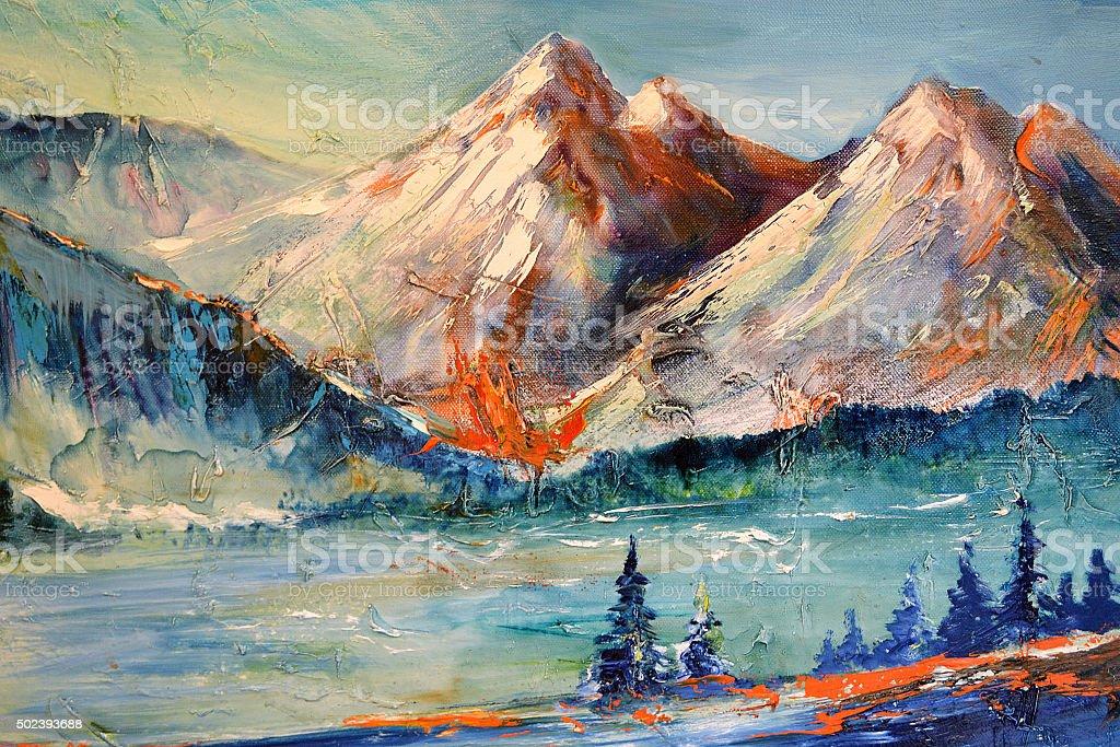 Mountains, Canyon. Mountain peak vector art illustration