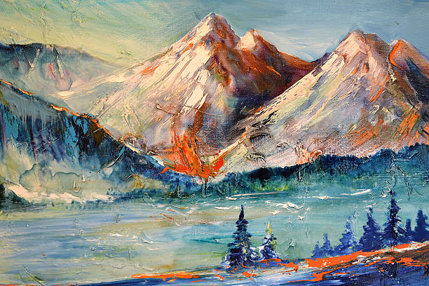 mountains, canyon. mountain peak - oil painting stock illustrations