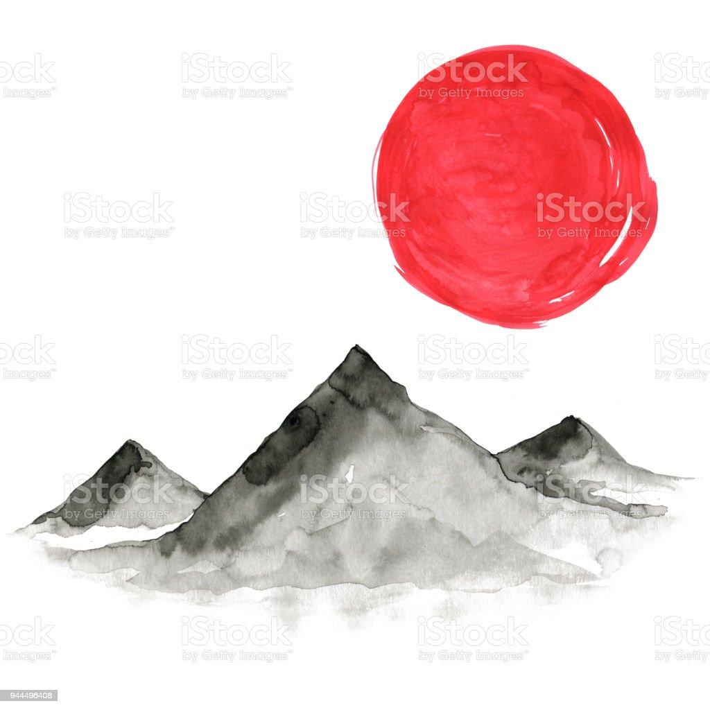 Japon Tarzı Dağlarda Suluboya El Boyama çizim Stok Vektör Sanatı