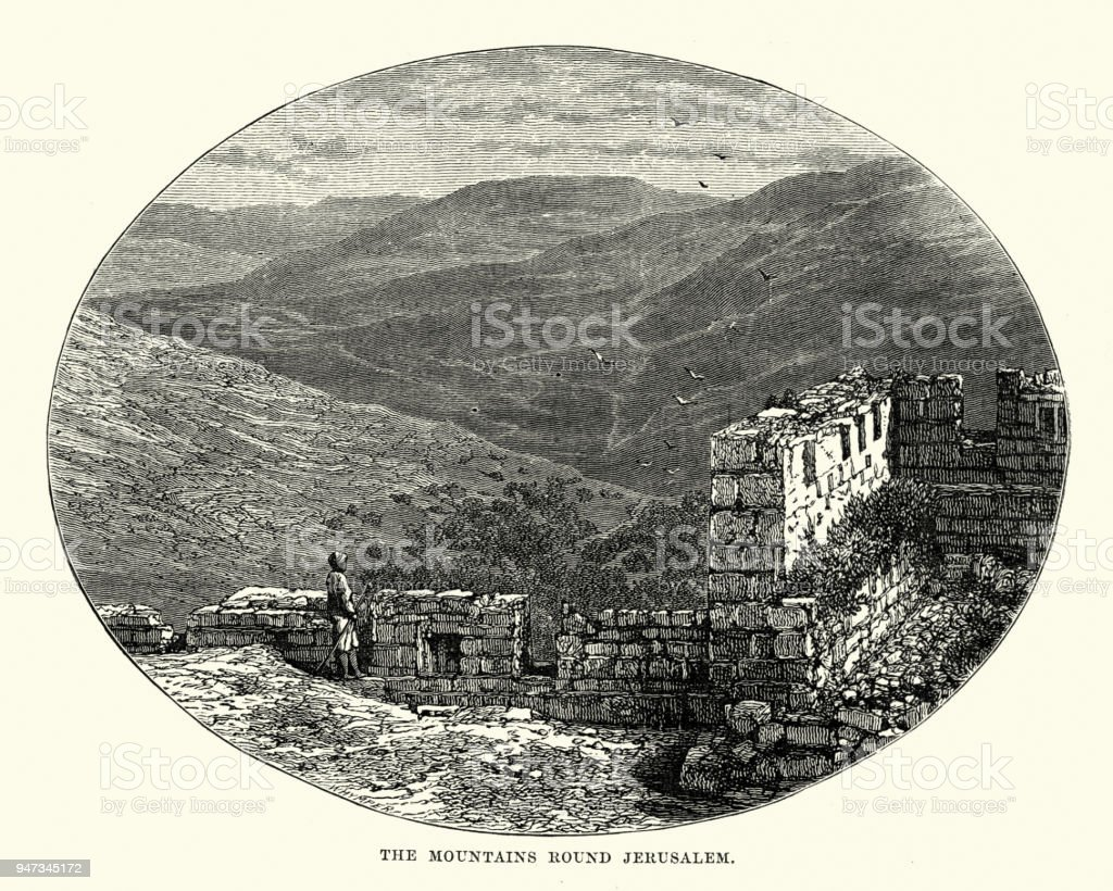 Mountains roud Jerusalem, 19th Century vector art illustration