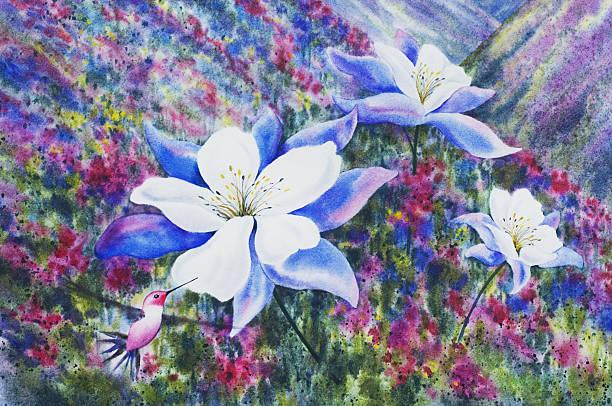 Mountainside Hummingbird and Blue Columbine vector art illustration