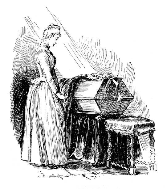 stockillustraties, clipart, cartoons en iconen met rouwende vrouw - funeral crying
