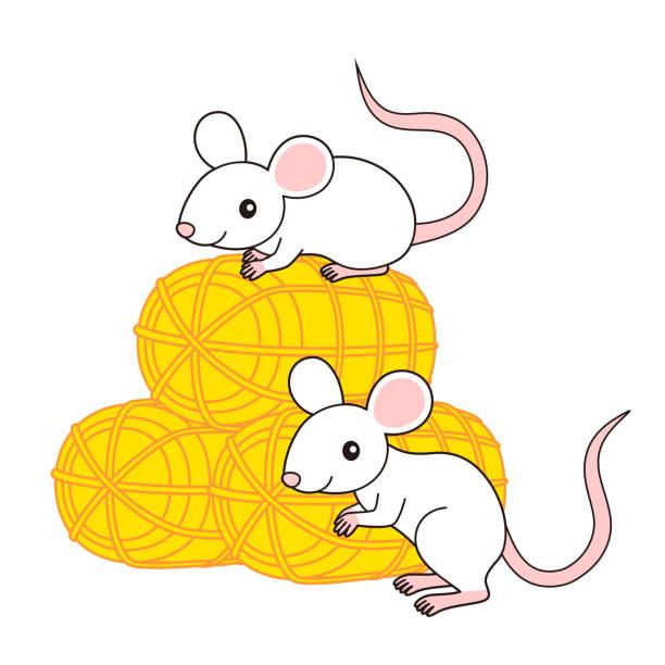 ねずみと金色の米俵 イラスト mouse ベクターアートイラスト