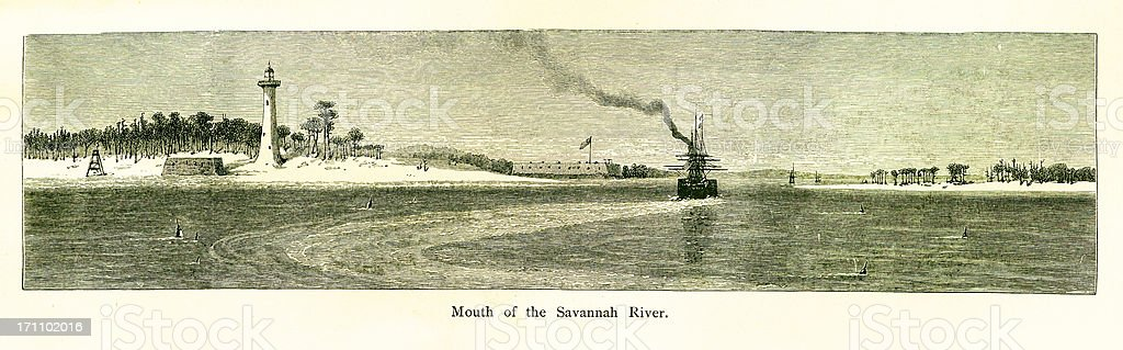 Mouth of the Savannah River, Georgia vector art illustration