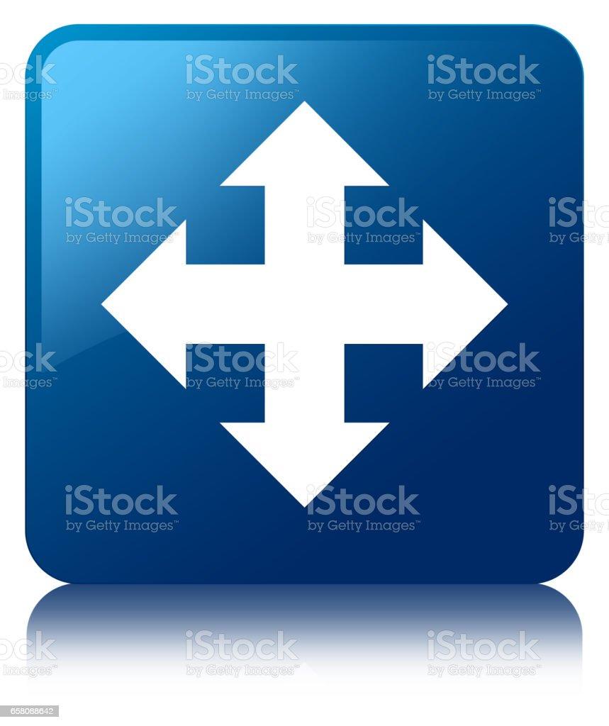 Move icon blue square button vector art illustration