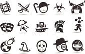 A set of movie genre icons.  A compendium of ideas for genres from westerns to fantasy.