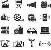 Movie industry black & white icon set