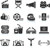 Movie industry black & white royalty free vector icon set