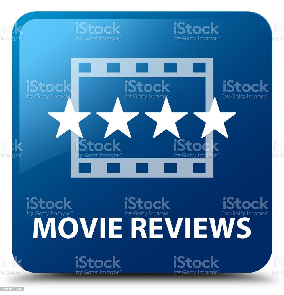Movie reviews blue square button vector art illustration