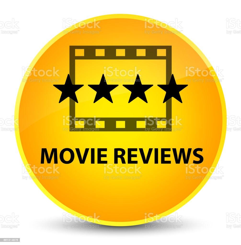 Movie reviews elegant yellow round button vector art illustration