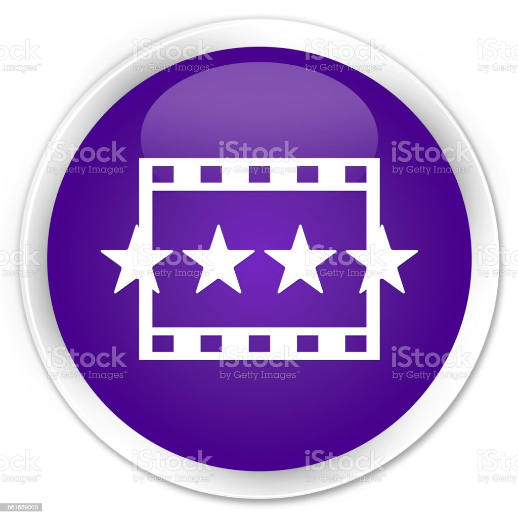 Movie reviews icon premium purple round button vector art illustration