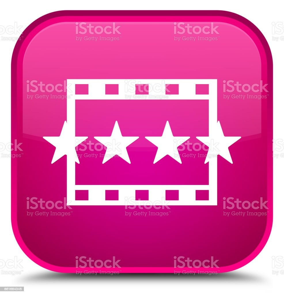 Movie reviews icon special pink square button vector art illustration