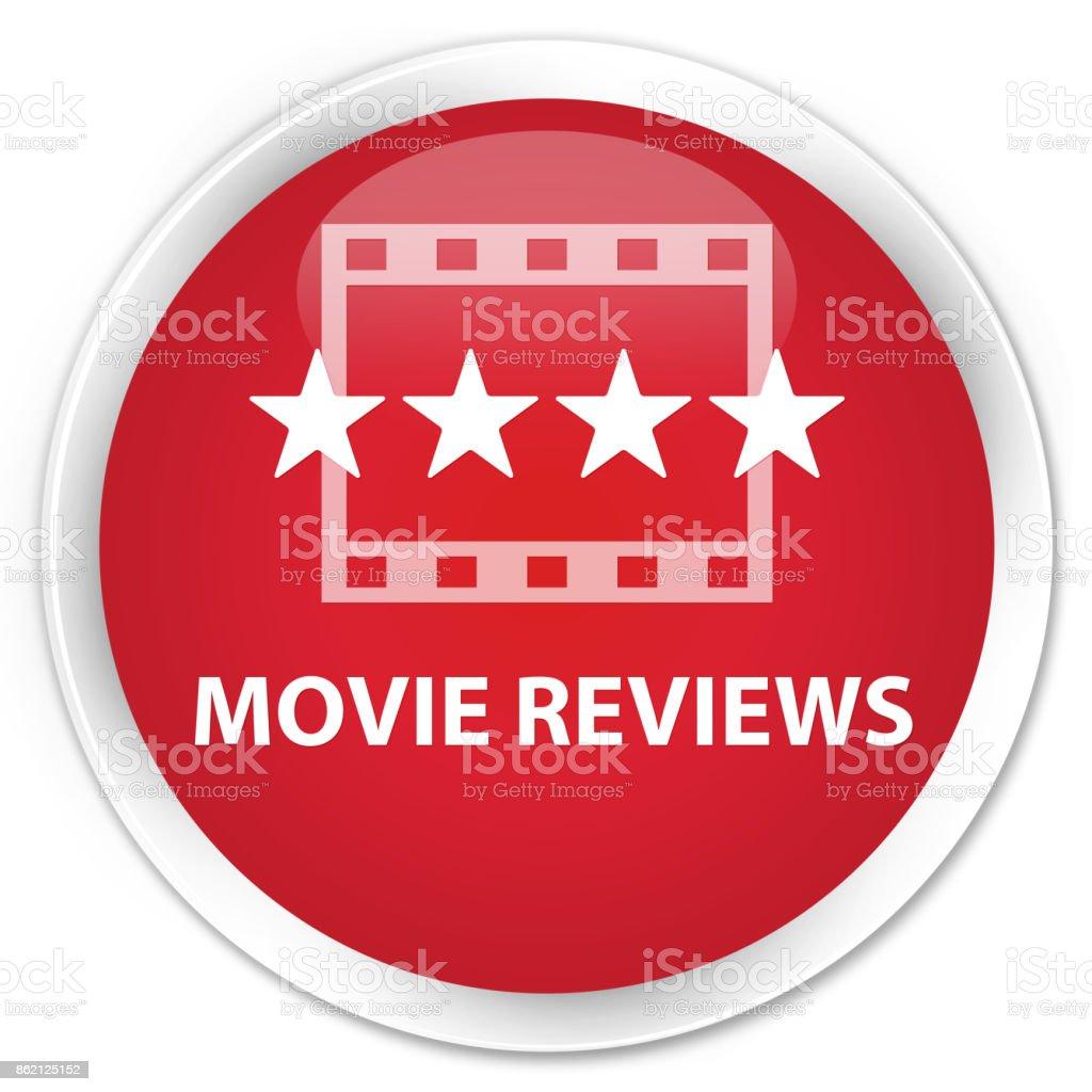 Movie reviews premium red round button vector art illustration