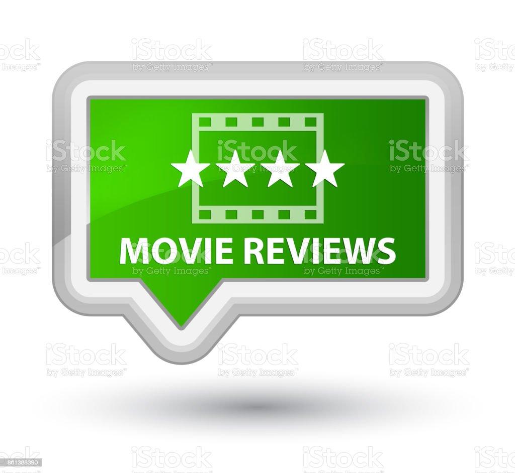 Movie reviews prime green banner button vector art illustration