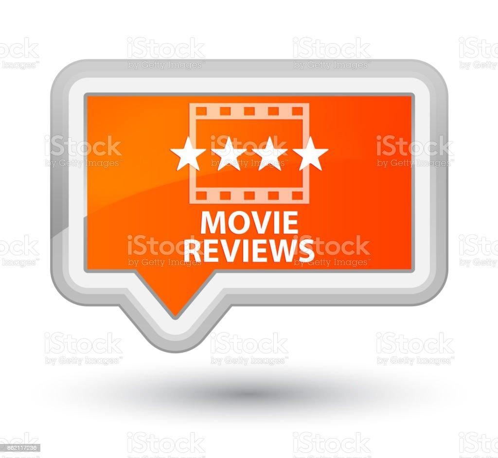 Movie reviews prime orange banner button vector art illustration