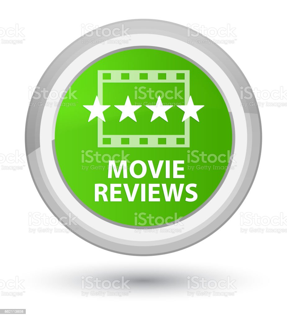 Movie reviews prime soft green round button vector art illustration