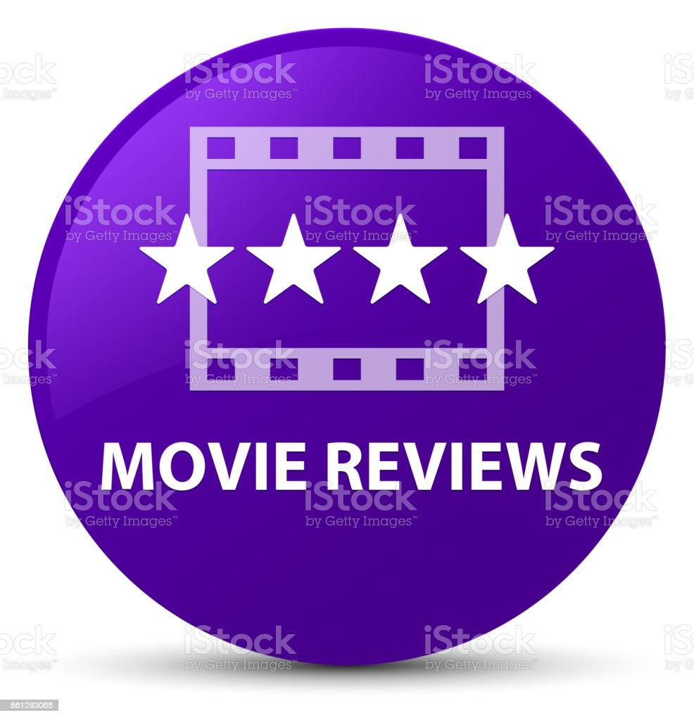 Movie reviews purple round button vector art illustration