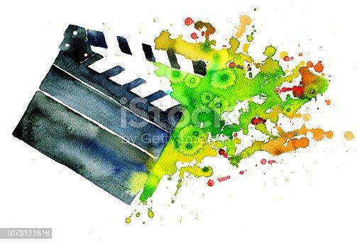 Movie Set Clapboard, watercolor