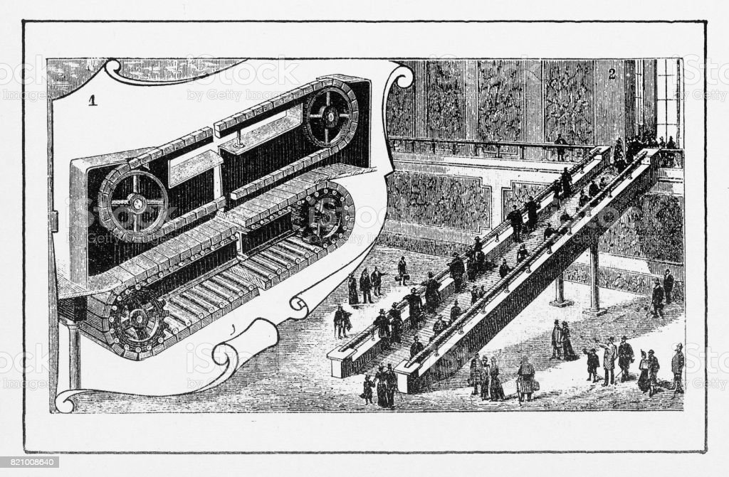 Moving Staircase In New York, Early American Engraving Royalty Free Moving  Staircase In New