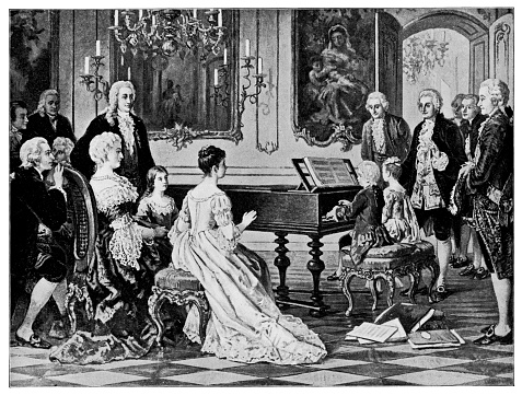 Mozart and His Sister Perform for Empress Maria Theresa by August Borckmann - 19th Century