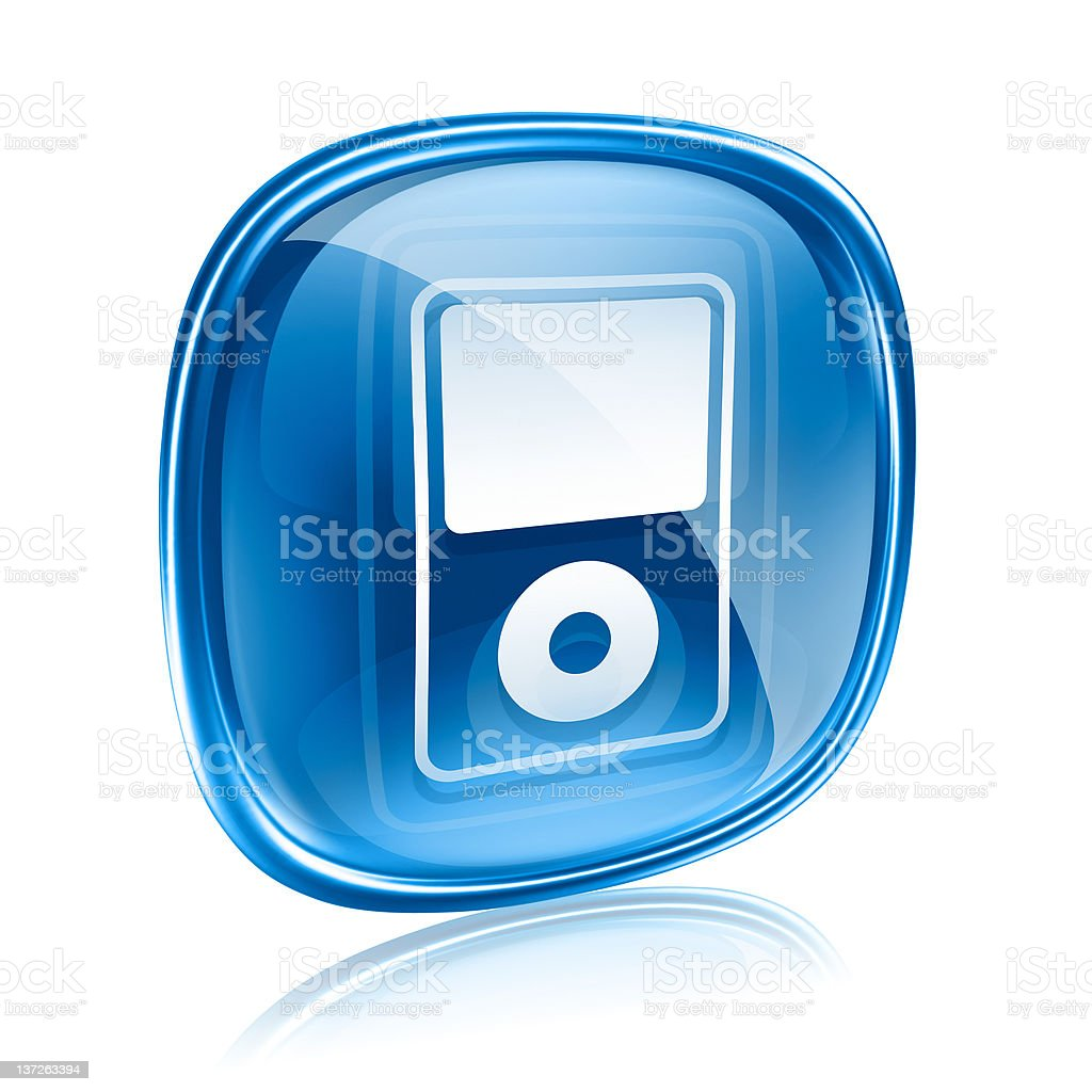 mp3 player blue glass, isolated on white background royalty-free stock vector art
