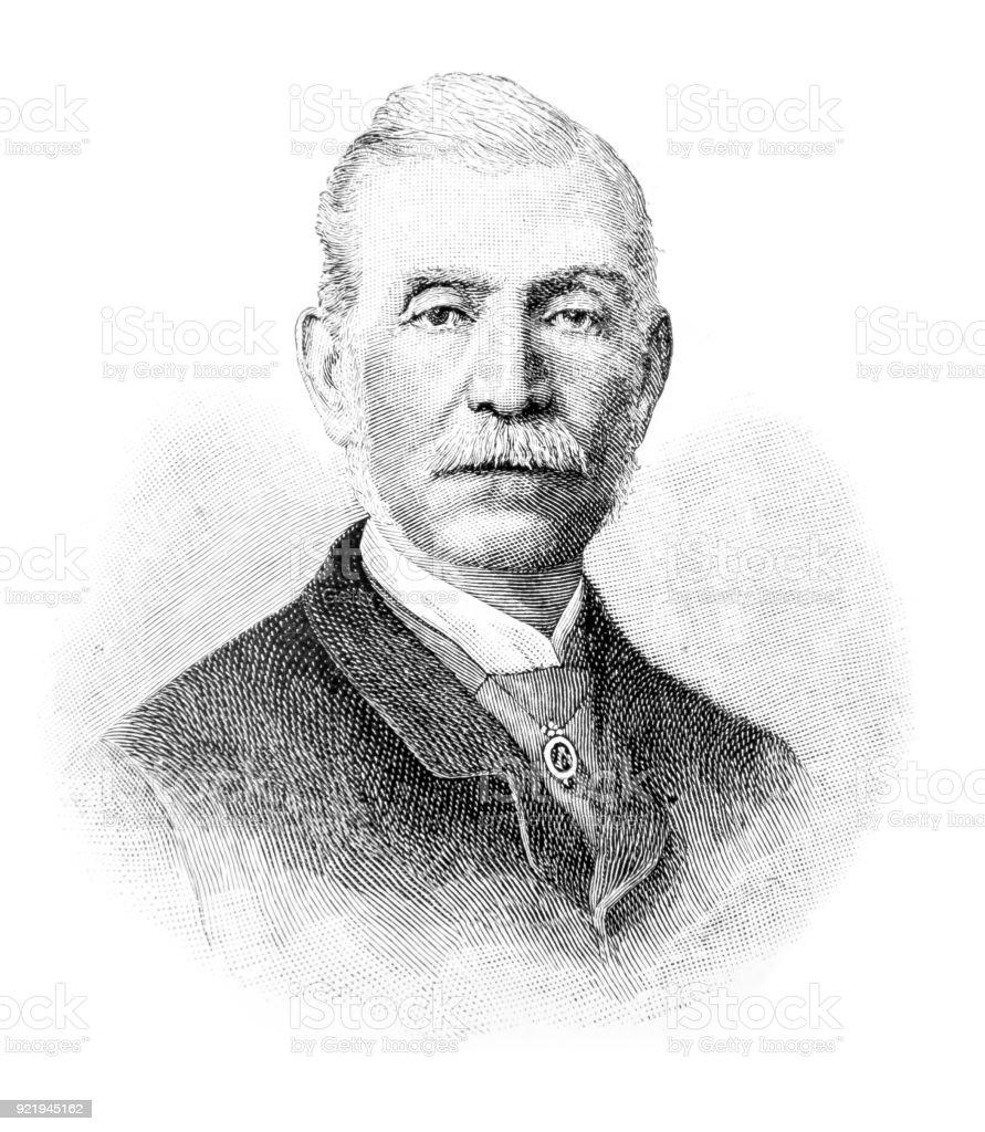 Mr Norton, Superintendent of the Royal Mews, Buckingham Palace vector art illustration
