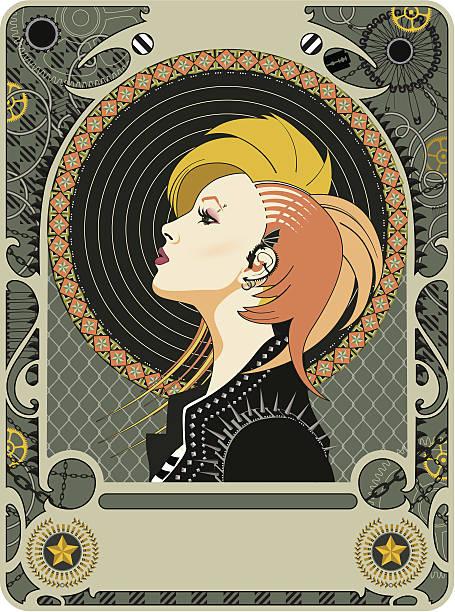 Mucha Revival vector art illustration