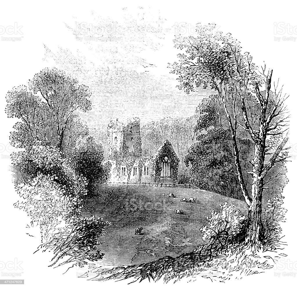 Muckross Abbey, Killarney (Victorian sketch) vector art illustration