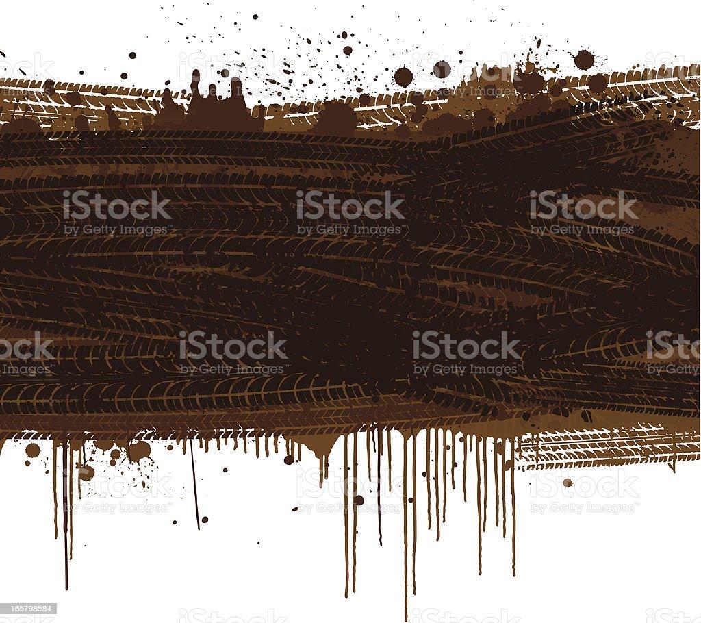 Muddy tracks background vector art illustration
