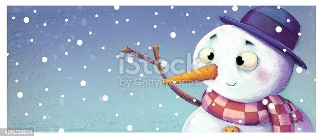 istock muñeco de nieve feliz 499233634