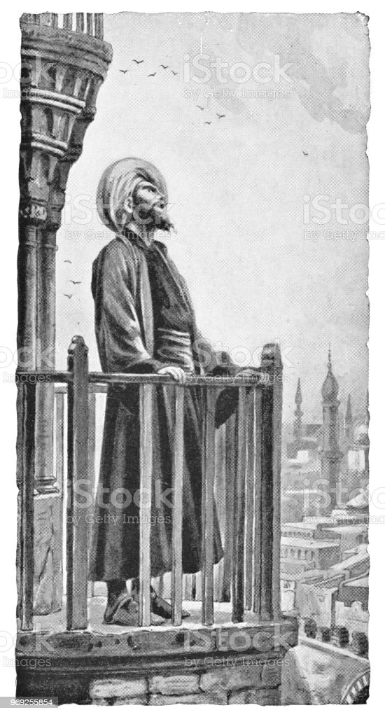 Muezzin preforming the Adhan Call to Prayer in Istanbul, Turkey - Ottoman Empire vector art illustration
