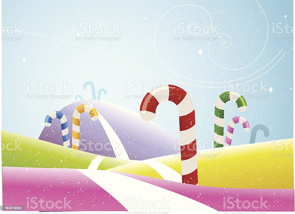 Multi Colored Candy Cane field vector art illustration