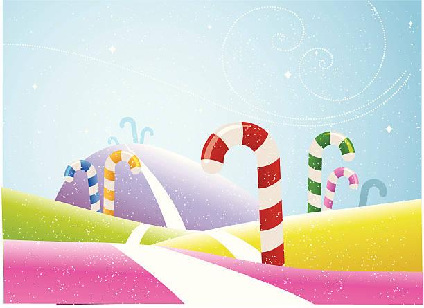 bunt candy cane field - landstraße stock-grafiken, -clipart, -cartoons und -symbole