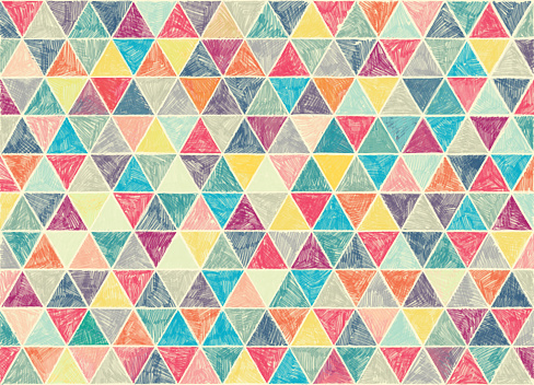 multi colored hand drawn vintage pattern of triangles.