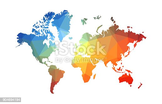 Abstract multi colored low poly World map with color gradient on white background.