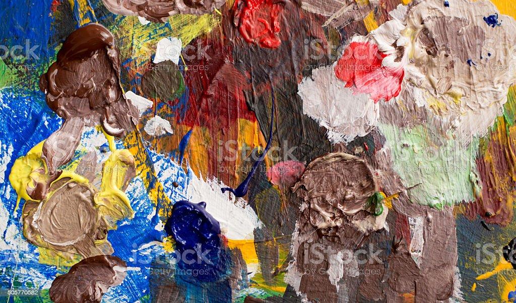 multi colored paint  palette and paintbrush vector art illustration