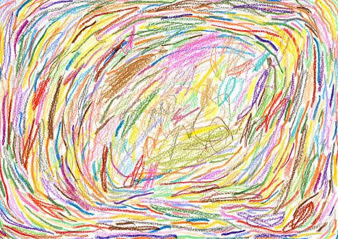 Multi coloured crayon strokes background pattern