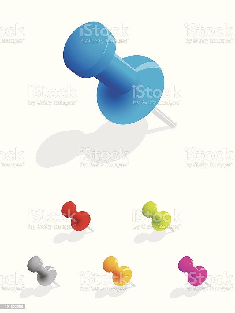 Multi coloured push pins royalty-free stock vector art
