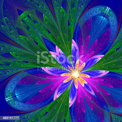 Multicolor beautiful fractal flower in green, purple and blue. Computer generated graphics.