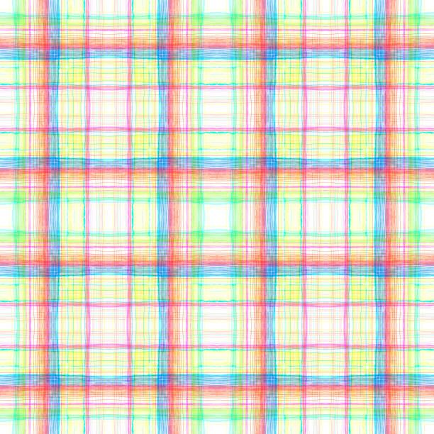 Cuadrícula multicolor sobre textura de fondo sin costuras blanca. - ilustración de arte vectorial