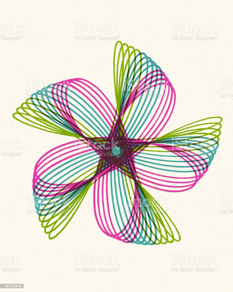 Multicolor Pinwheel Line Drawing royalty-free stock vector art