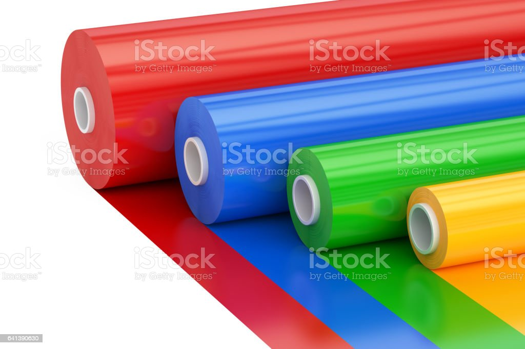 Multicolor PVC Polythene Plastic Tape Rolls, 3D rendering isolated on white background vector art illustration
